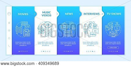 Video For Foreign Language Learning Onboarding Vector Template. Music Videos, Interviews, Discussion