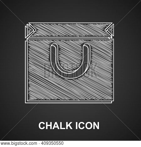 Chalk Shopping Bag Icon Isolated On Black Background. Shopping Bag Shop Love Like Heart Icon. Valent