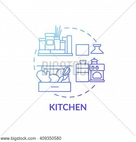Kitchen Blue Gradient Concept Icon. Cook Room Declutter Tips Idea Thin Line Illustration. Home Organ
