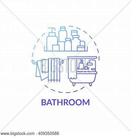 Washroom Blue Gradient Concept Icon. Cleaning Out Room Of House Idea Thin Line Illustration. Disinfe