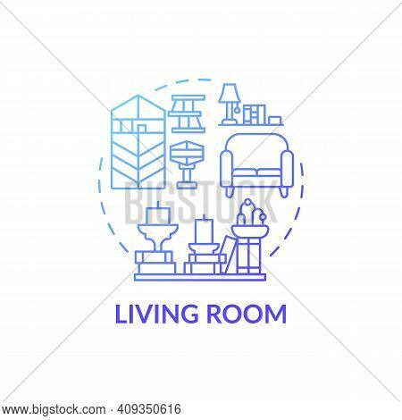 Keeping Room Blue Gradient Concept Icon. Tidying And Decluttering Idea Thin Line Illustration. Place
