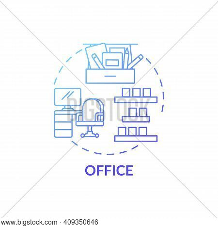 Decluttering In Office Blue Gradient Concept Icon. Tidying Agency Idea Thin Line Illustration. Regul
