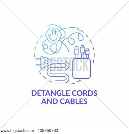 Detangle Cords And Cables Blue Gradient Concept Icon. Organzing Wires In Cable Boxes Idea Thin Line