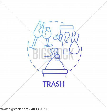 Trash Blue Gradient Concept Icon. Disposal Items Idea Thin Line Illustration. Sorting And Tossing Th