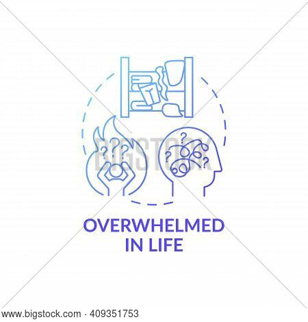 Overwhelmed Person In Life Blue Gradient Concept Icon. Without Wanting To Get Rid Of Unused Items Id