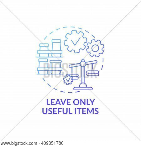 Leave Only Useful Items Blue Gradient Concept Icon. Disposal Things From House Idea Thin Line Illust