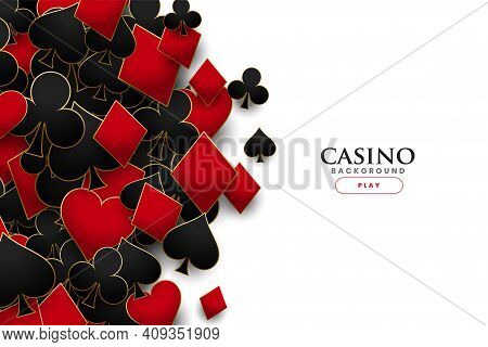 Casino Playing Cards Symbols Realistic Background Vector Design Illustration