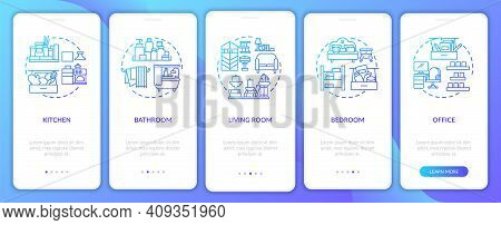 Decluttering Areas Navy Onboarding Mobile App Page Screen With Concepts. Home To Decluttering Walkth