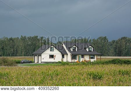 Brand New Farmers House In The Middle Of Corn Field