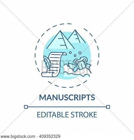 Manuscripts Concept Icon. Archive Collections Of Online Library Idea Thin Line Illustration. New Tec