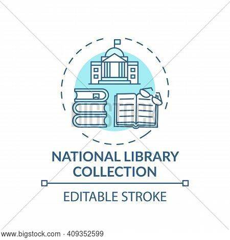 National Library Collection Concept Icon. Online Library Access Idea Thin Line Illustration. Digital
