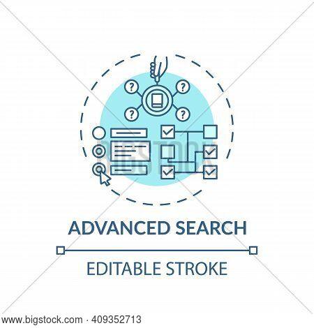 Advanced Search Concept Icon. Online Library Search Types Idea Thin Line Illustration. Digital Libra