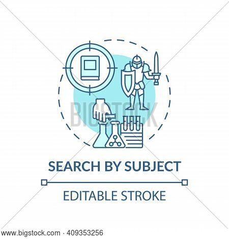 Search By Subject Concept Icon. Online Library Search Options Idea Thin Line Illustration. Informati
