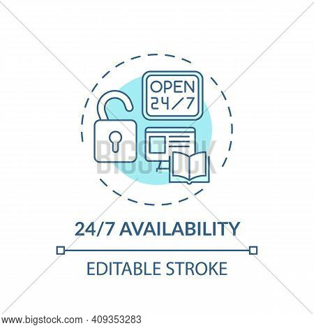 Availible Information Concept Icon. Online Library Search Options Idea Thin Line Illustration. New T