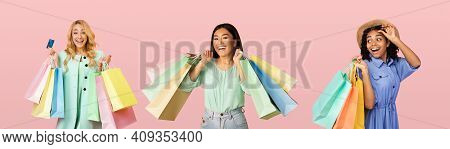 Three Diverse Shopaholics Ladies Posing With Colorful Shopper Bags After Successful Shopping Over Pi
