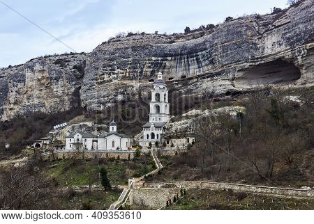Bakhchisarai, Crimea - January 24, 2021: Church, Bell Tower And Outbuildings Of Assumption Monastery