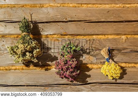 Dried flowers bouquets on wooden wall - nature background