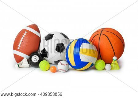 Set of sport equipment isolated on white background