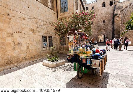 Jerusalem, Israel - September 11, 2011: Souvenir Merchant With Souvenir Cart Near Dormition Abbey Ch