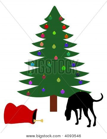 Dog finds a chirstmas bone below the christmas tree poster