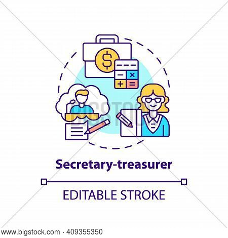 Secretary Treasurer Concept Icon. Company Top Management Jobs. Controlling All Financial Activities.