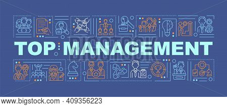 Top Management Word Concepts Banner. Responsible For Controlling. Infographics With Linear Icons On