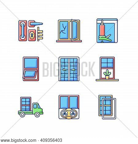 Window And Door Installations Rgb Color Icons Set. Fixing Cracked Sills, Glass. Insulating Barrier C