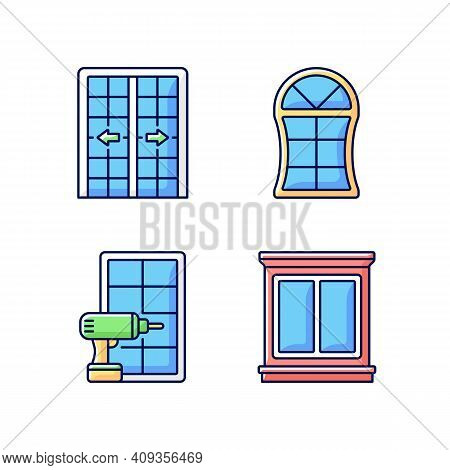 Replacement Door Opportunity Rgb Color Icons Set. Patio Doors. Unique Styles, Features. Home Improve