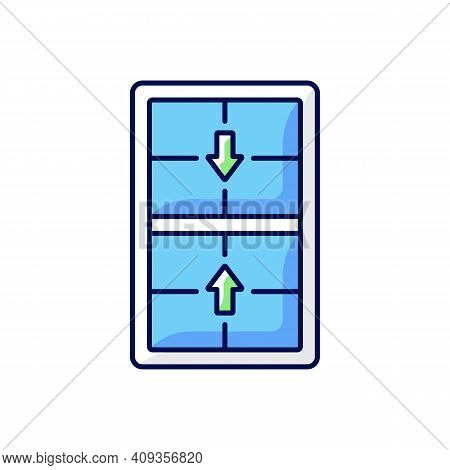 Double-hung Windows Rgb Color Icon. Two Operating Sash Moving Up, Down. Vertical-sliding Window. Eff