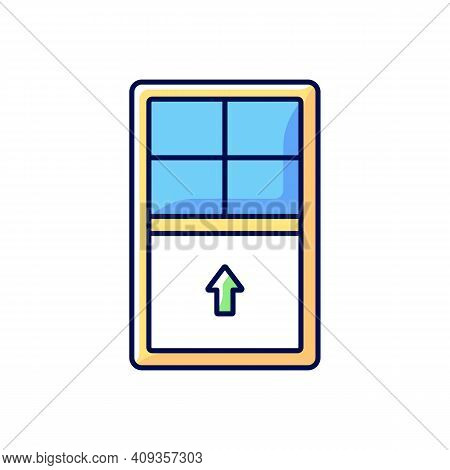 Single-hung Windows Rgb Color Icon. Single Movable Sash With Raise From Bottom. Natural Ventilation