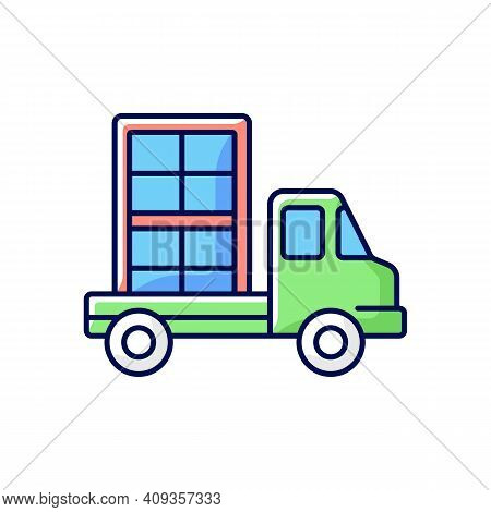 Window Delivery Rgb Color Icon. Customer Service. Delivering Building Materials On Residential Const