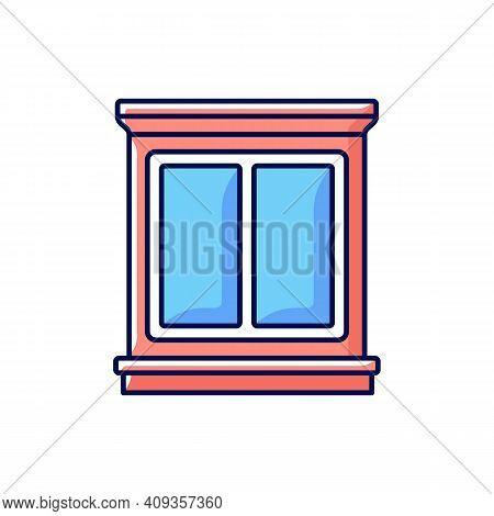Window Interior Trim Rgb Color Icon. Window Decoration. Home Improvement. Decorative Trim. Moulding