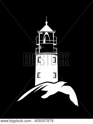 Flying Sea Gull And Lighthouse Tower White Vector Silhouette Over Black Background For Sea Voyage Co