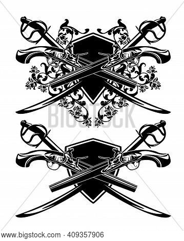 Crossed Sabre Sword And Antique Pistols Against Heraldic Shield With Rose Flowers Decor - Pirate Wea