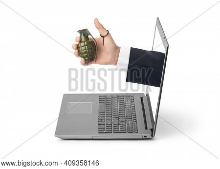 Hand with grenade and notebook isolated on white background