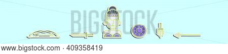 Set Of Athena Symbol Cartoon Icon Design Template With Various Models. Modern Vector Illustration Is