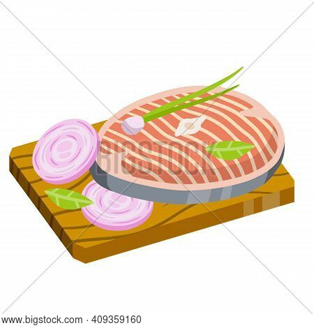 Piece Of Raw Fish On Chopping Board. Cooking Food. Kitchen And Restaurant Elements. Chops And Ingred