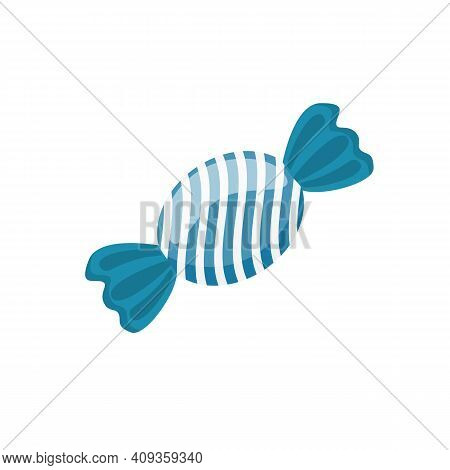 Blue Candy Isolated On White Background. Bonbon Sweet Candy Icon. Vector Stock