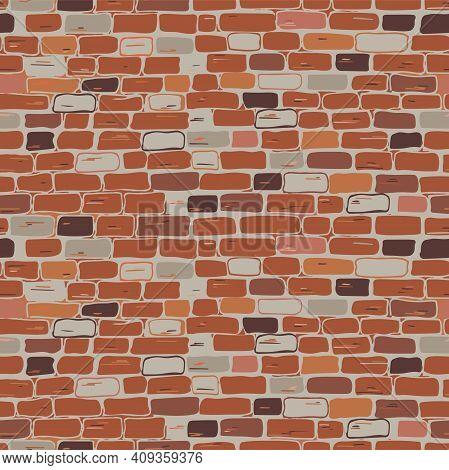 Realistic Masonry Seamless Pattern. Vector. The Wall Is Brick, Red, Brown, Orange, Gray. Flat Illust