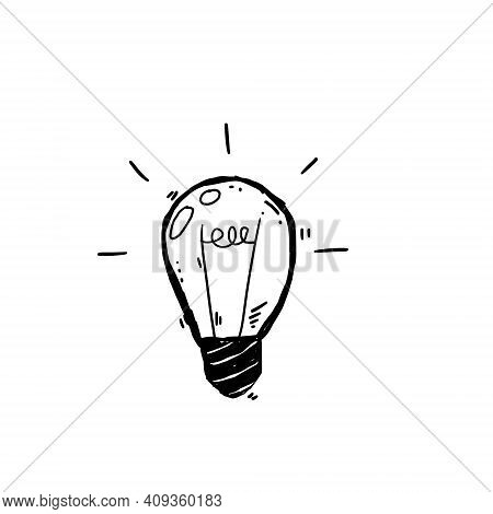 Light Bulb. Sketch Of An Electric Device. Cartoon Doodle Lighting Concept And Ideas. Black And White