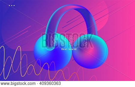 Music Party Or Festival Poster With Fluorescent Headphones Stylized Illustration In Pink And Blue Gr