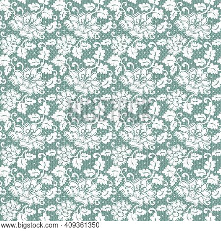 Seamless White Lace With Floral Pattern On Green Background