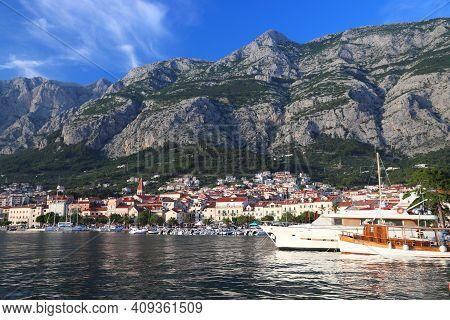 Makarska, Croatia. Resort Town In Dalmatia. Makarska Riviera.
