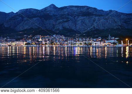 Makarska, Croatia. Evening View Of Resort Town In Dalmatia. Makarska Riviera.