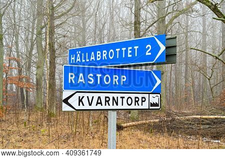 Signs Showing The Way To Places In Sweden