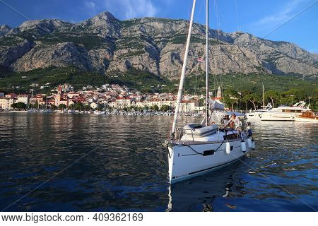 Makarska, Croatia - June 21, 2019: Sailors Arrive In Makarska, Croatia. Croatia Had 18.4 Million Tou