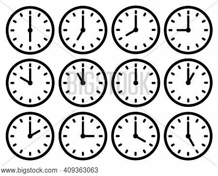 Clock Icons Set. Dial With Hands. Different Time. Black And White Illustration.