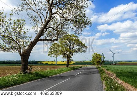Wind turbines road to green ecological landscape