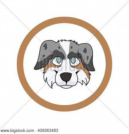 Cute Cartoon Australian Shepherd Face In Circle Dog Vector Clipart. Pedigree Kennel Doggie Breed For