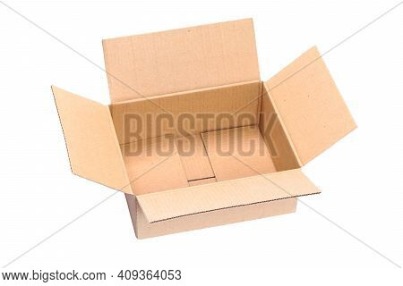 Top View Of Isolated Opened Packaging Cardboard Box In Close-up Without Shadows. Png File With Trans